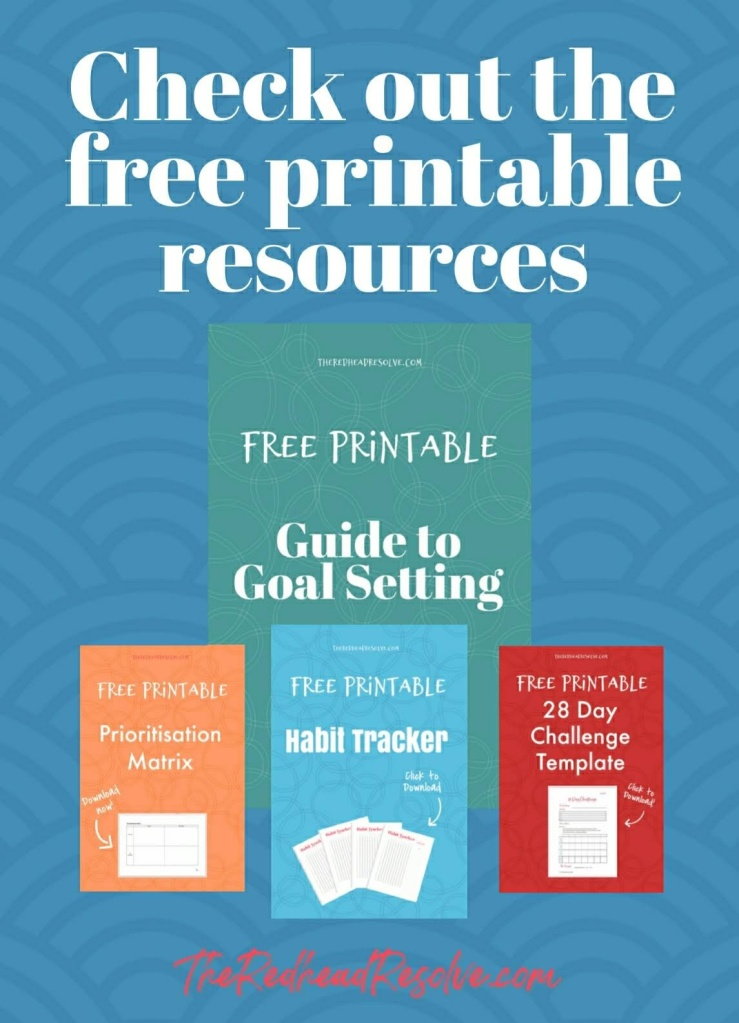 Link to a resources page to download a guide to goal setting, prioritisation matrix, habit tracker and 28 day challenge template
